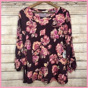 Soleilee Purple Pink Floral Ribbon Sleeves Top 1X
